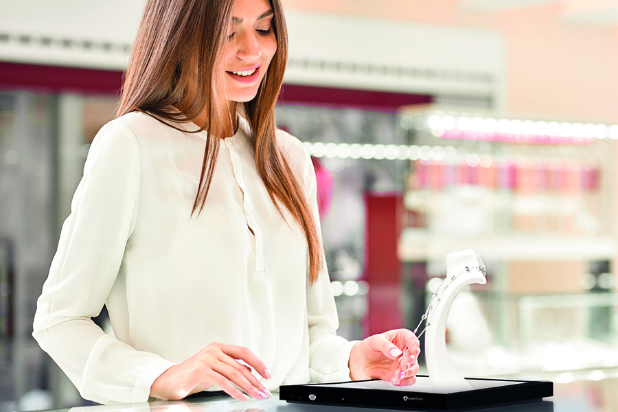 Salespeople use the JewelTrace RFID Jewelry Tray to track and trace views and sales.