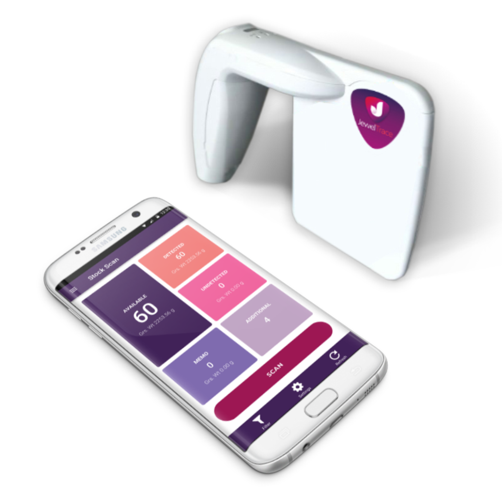 JewelTrace RFID  for jewelry - handheld reader and app.